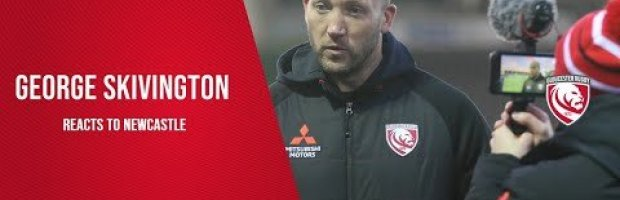 George Skivington reacts to Gloucester Rugby's loss to Newcastle
